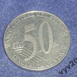 Эквадор-2000 г.-50 сентаво (юбилейная)