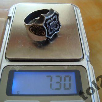 Кольцо- печатка.Серебро(Размер -19-20.)Чернь.Стар.