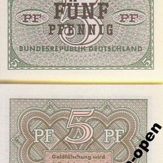 Germany / Германия - 5 Pfennig 1967 aUNC OLM-OPeN