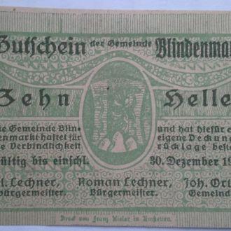 Нотгельд Австрия Blindenmarkt  10 геллеров