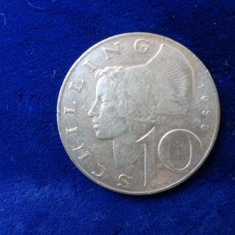 Австрия 10 шиллингов  1958 серебро