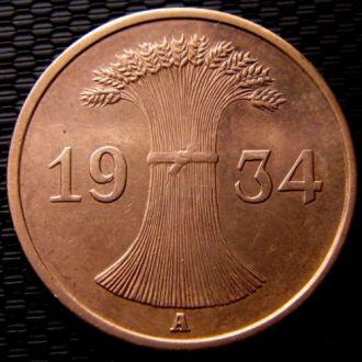 Германия 1 рейхспфенниг 1934 год (A) Созран!