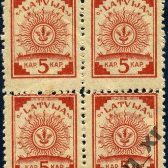 Латвия.  Стандарты №7А** (кв. блок). 1919