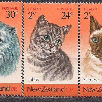 Новая Зеландия**,1983г., фауна, кошки