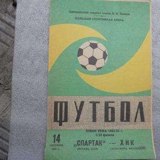 программа футбол Спартак Москва ХИК 1983 кубок УЕФ