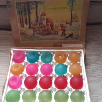 Елочные игрушки.Набор  шаров ГДР в родной коробке.