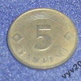 Латвия-1992 г.-5 сантимов