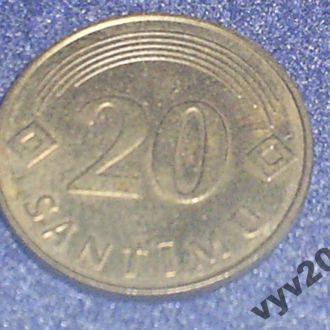 Латвия-1992 г.-20 сантимов