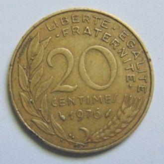 Франция 20 сантим 1976г.