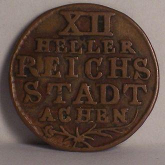 Городская монета 12 геллеров, г. Ахен 1767г.