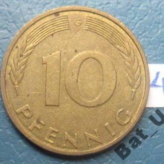 "ФРГ 10 пфеннигов 1991 г. ""G""."