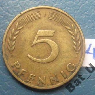 """ФРГ 5 пфеннигов 1950 г. """"J""""."""
