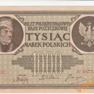 ПОЛЬША 1000 марок 1919 год Ser. ZC. звездочка после номера СОСТОЯНИЕ
