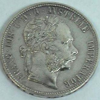 ОДИН ФЛОРИН 1877 г. СЕРЕБРО АВСТРО-ВЕНГРИЯ 12,25гр