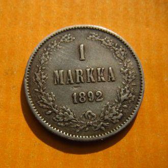 Россия Финляндия 1 марка 1892 серебро №3