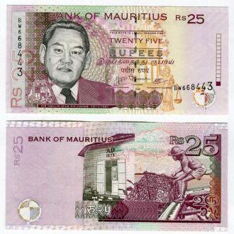 Маврикий 25 рупий 2009 UNC
