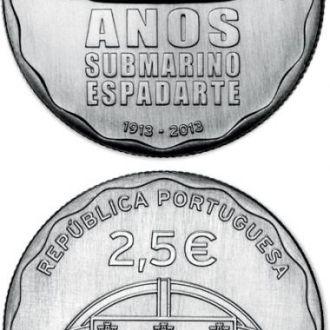Португалия 2,5 евро 2013 подводнная лодка субмарин