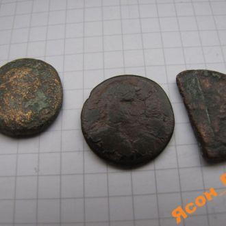 3 больших Древних монеты: римского имп. Каракаллы