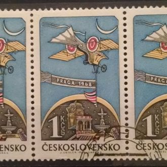 марки Чехословакия техника самолет сцепка