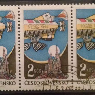 марки Чехословакия техника дирижабль сцепка+1марка