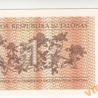 Литва 1 талон 1992 год UNC