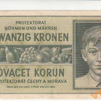 Богемия и Моравия 20 крон 1944 год