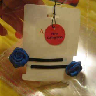 невидимка роза шпилька лот=2шт атласные синие люкс