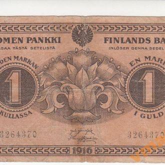 ФИНЛЯНДИЯ 1 марка 1916 год № семизначный