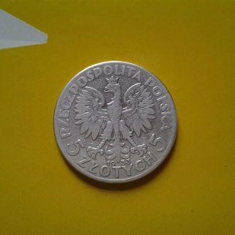 Польша 5 злотых 1933 г. Серебро.