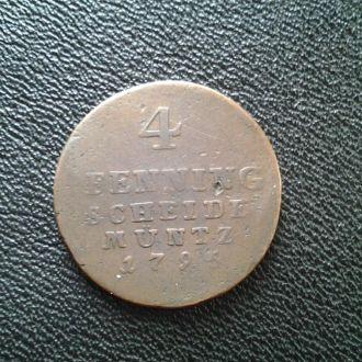 Брунсвик Люнебург Каленберг гановер 4 пфенн. 1795г