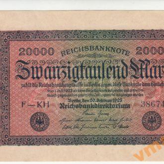 ГЕРМАНИЯ 20000 марок 1923 год UNC