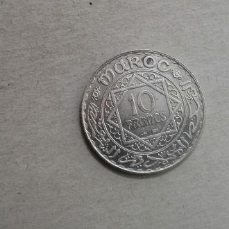 Марокко 10 франков 1352 серебро СОХРАН !!!