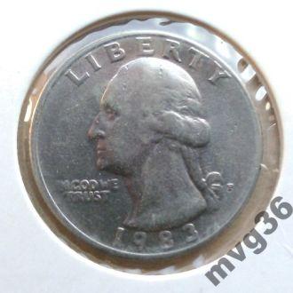 США,25 центов,1983 год .