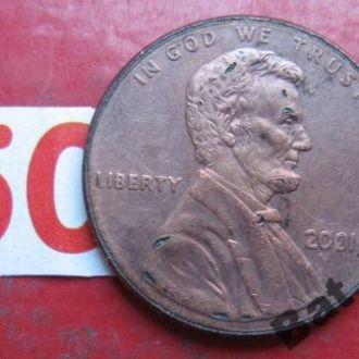 1 цент 2001 года. США.