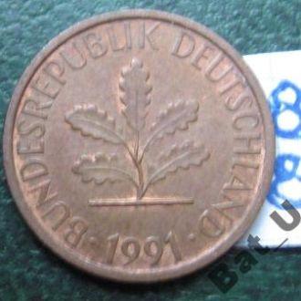 ФРГ 1 пфенниг 1991 года.