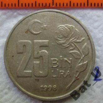 ТУРЦИЯ, 25 000 лир 1998 года.