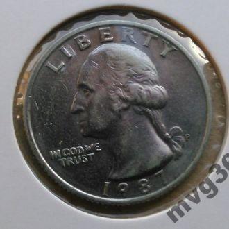 США,25 центов квотер,1987 год.