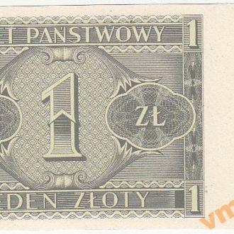 Польша 1 злотый 1938 год НЕДОПЕЧАТКА только реверс