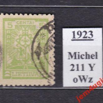Литва 1923 г. М # 211Y (гашеная) без Wz