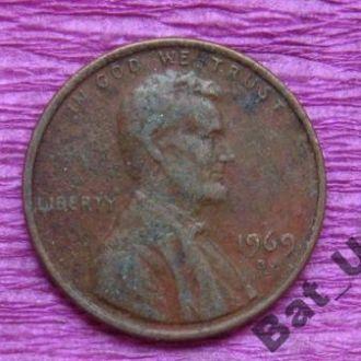 1 цент 1969 г. США.