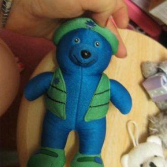медведь мишка мягкая игрушка брелок синий фирма