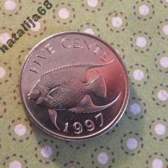 Бермуды 1997 г монета 5 центов Бермудские острова !