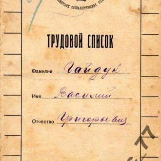 Трудовая книжка (список) 1925 с фото