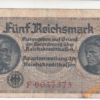 Германия 5 рейхсмарок 1940-1945 год