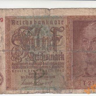 ГЕРМАНИЯ 5 рейхсмарок 1942 год № семизначный