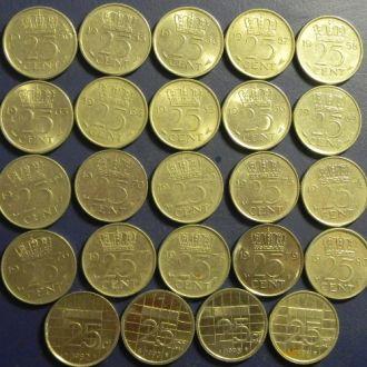 25 центов Голландии (погодовка) 24шт