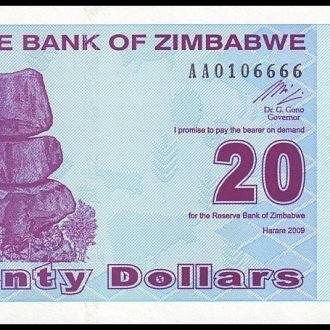 ЗИМБАБВЕ. 20 Долларов - 2009 г. (Pick № 95). UNC
