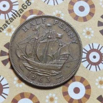 Великобритания парусник 1963 год монета 1/2 пенни