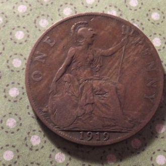 Великобритания 1919 год монета 1 пенни