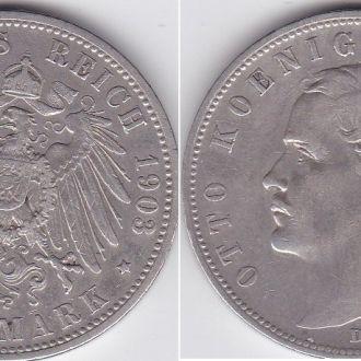 Германия - 5 Mark 1903 -D серебро VF Отто Бавария